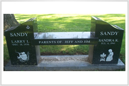 Black Granite Memorial Bench